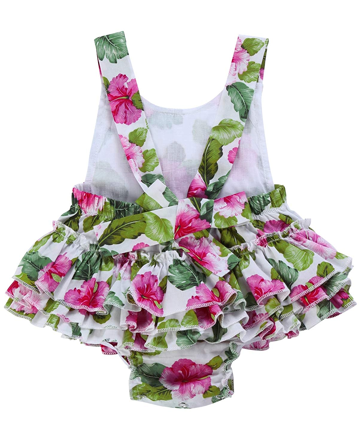 PrinceSasa Baby Girls Floral Print Ruffles Romper Summer Clothes with Headband