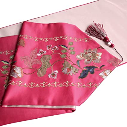 Amazon.com: Chinese embroidery table runner living room dining room ...
