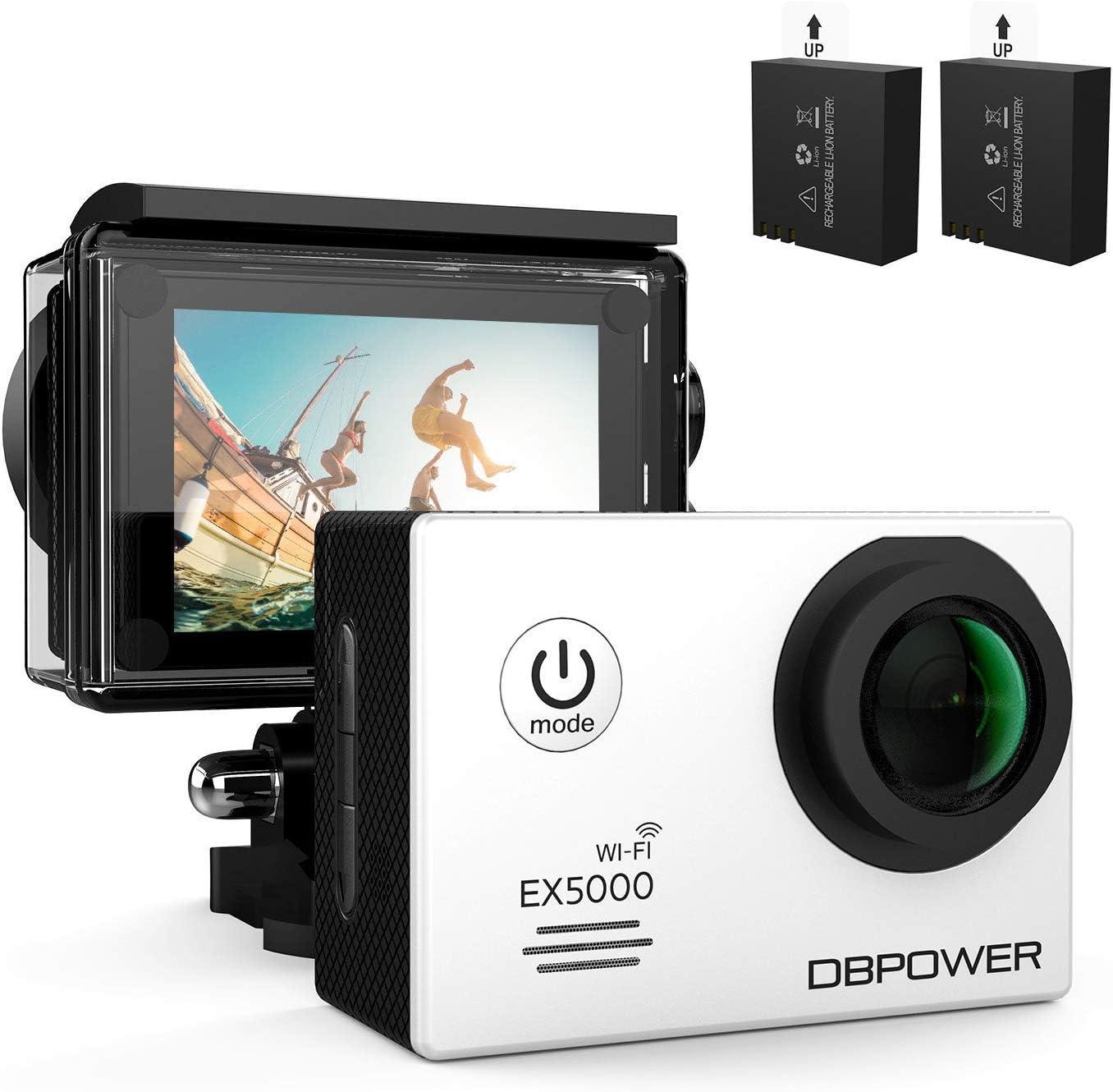 DBPOWER SJ4000 Cámara de acción impermeable WiFi 12 MP 1080P HD con 2 baterías y kit de accesorios gratis, color plateado: Amazon.es: Deportes y aire libre