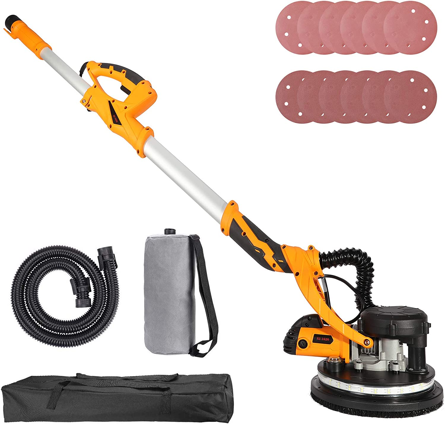 Orion Motor Tech Swivel Head Extendable Adjustable Speed 850W Drywall Sander with Integrated Vacuum System, 5-Speed LED High Visibility Wall Grinding Machine and 12 Sanding Disks