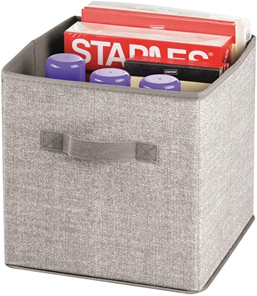 mDesign Set da 2 Organizer Ufficio in Tessuto con Manici Carta Stampante Contenitore Ufficio Multiuso Eccellente portaoggetti per raccoglitori cancelleria Colore: Grigio