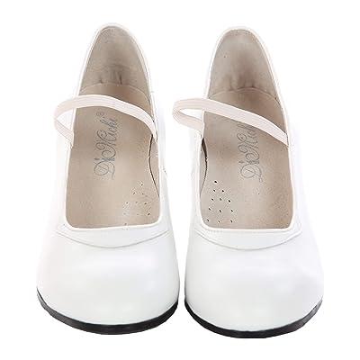 DiMichi Adult Maria Leather Elastic Strap Flamenco Shoe | Pumps