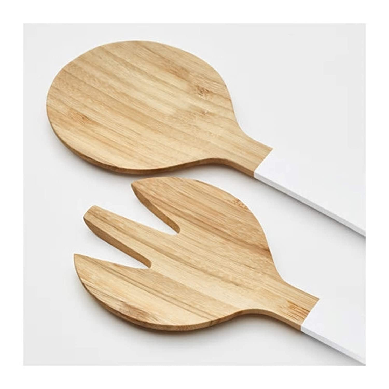 Paint Materials: Bamboo Oil Easy-Care and Hardwearing Natural Material 2-Piece Salad Servers Set Bamboo//White 31 cm