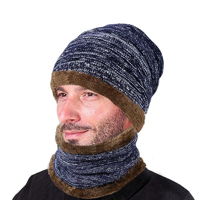 ee85d387d Vbiger Gorras Con Bufanda y Gorros de punto Sombreros de Invierno Hombre  (C-azul