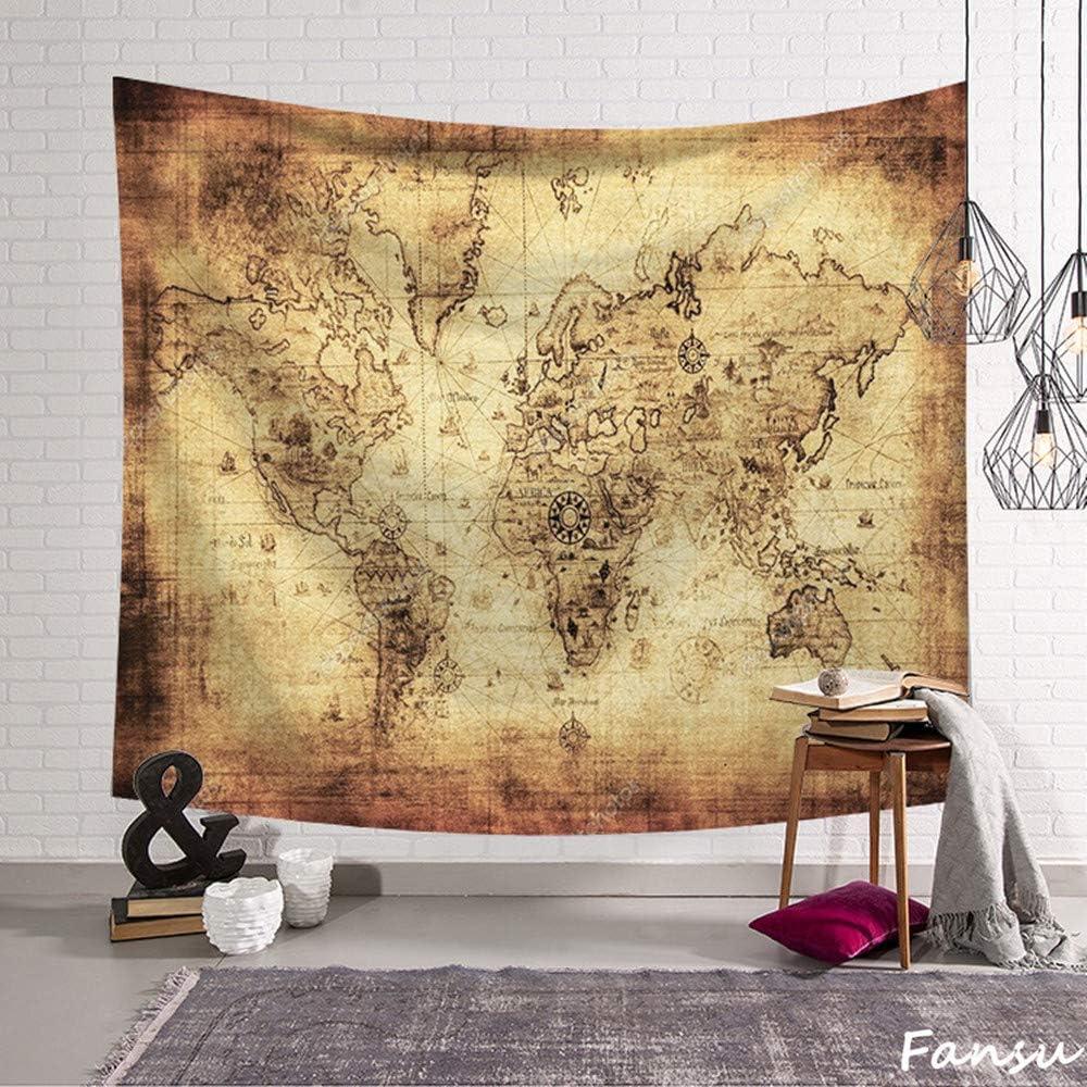 Fansu Tapiz de Pared Grande Mapa del Mundo Rectangular, artistico tapices Colgante hogar decoración Sala de Estar diseño psicodélico póster (S-150 * 130CM,Amarillo): Amazon.es: Hogar