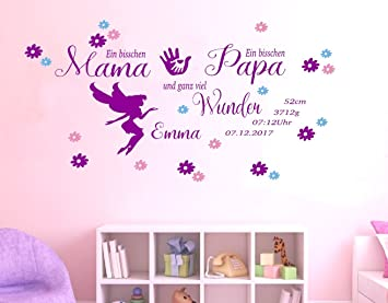 Tjapalo For Children S Bedroom Baby Girl Date Of Birth Date Name Wall Sticker Personalised Pk209 A Little Mama A Little Papa And A Big Miracle Wall Sticker With Names And Dates Purple