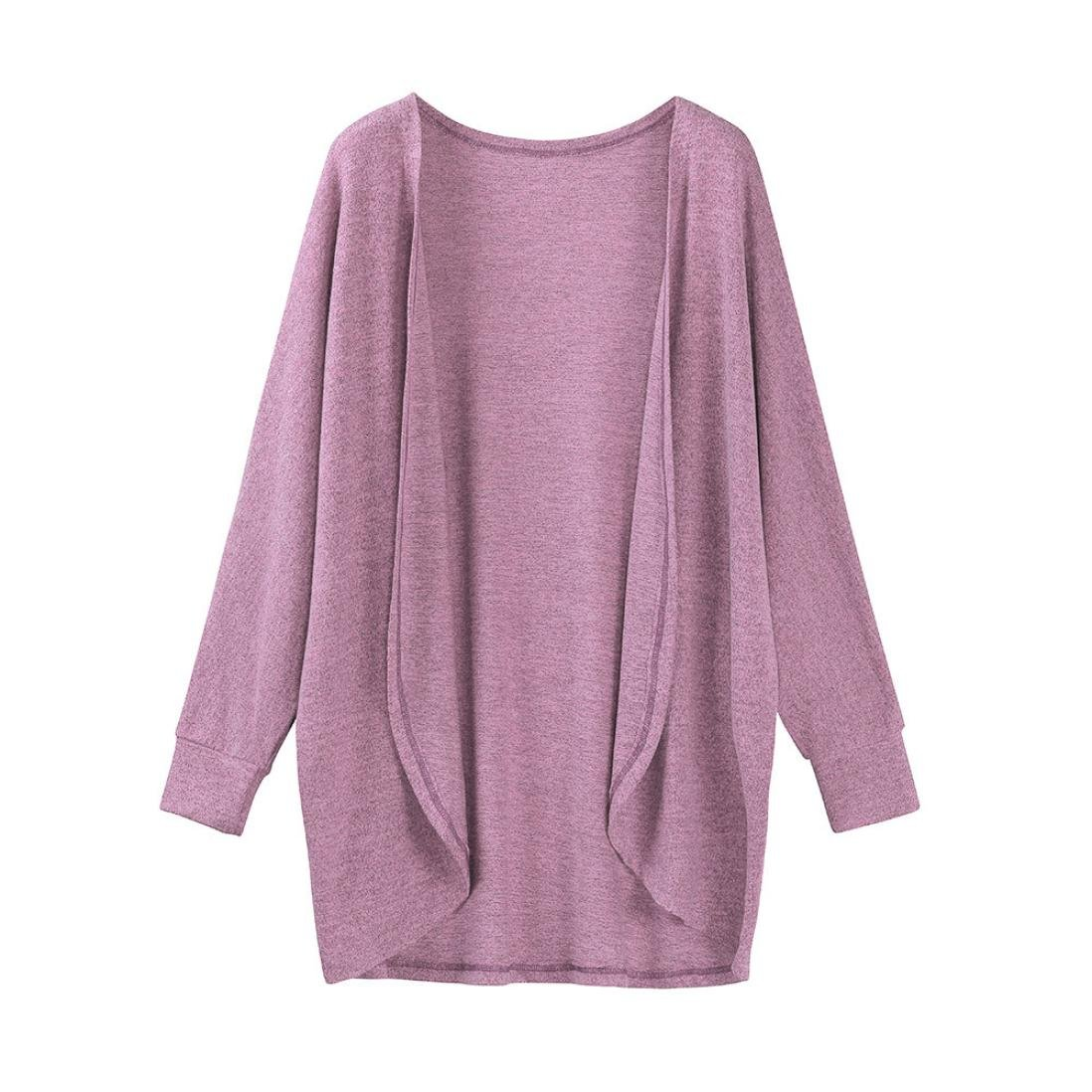 Hot Sale!Women's Cardigans Neartime Womens Kintted Cardigan Asymmetric Sweater Hem Long Sleeve Coat Tops (S, Pink)