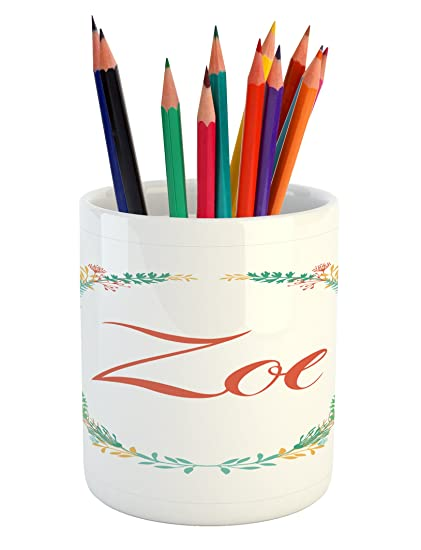 amazon com zoe pencil pen holder by ambesonne blossoming nature