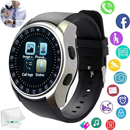 Smart Watch Bluetooth Smartwatch Touch Screen Wrist Watch with Camera SIM Card Slot Sync SMS Call Fitness Tracker Compatible with Android Ios Phones ...
