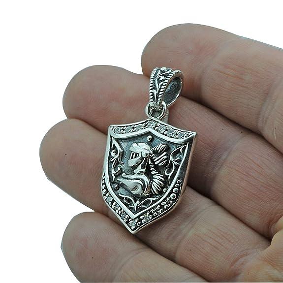 Knight Escudo de armas casco escudo colgante 13 g plata de ley 925 Beldiamo: Amazon.es: Joyería