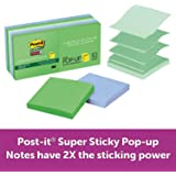 Post-it Super Sticky Pop-up Notes, 3 in x 3 in, Bora Bora Collection, 10 Pads/Pack, 90 Sheets/Pad (R330-10SST)