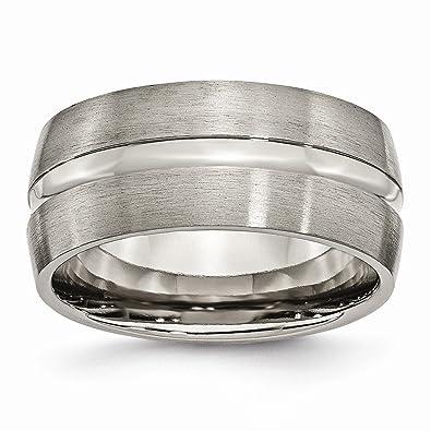 Titanium Grooved Ridged Edge 8mm Brushed Wedding Ring Band Size 8.50 Fashion Engagement & Wedding