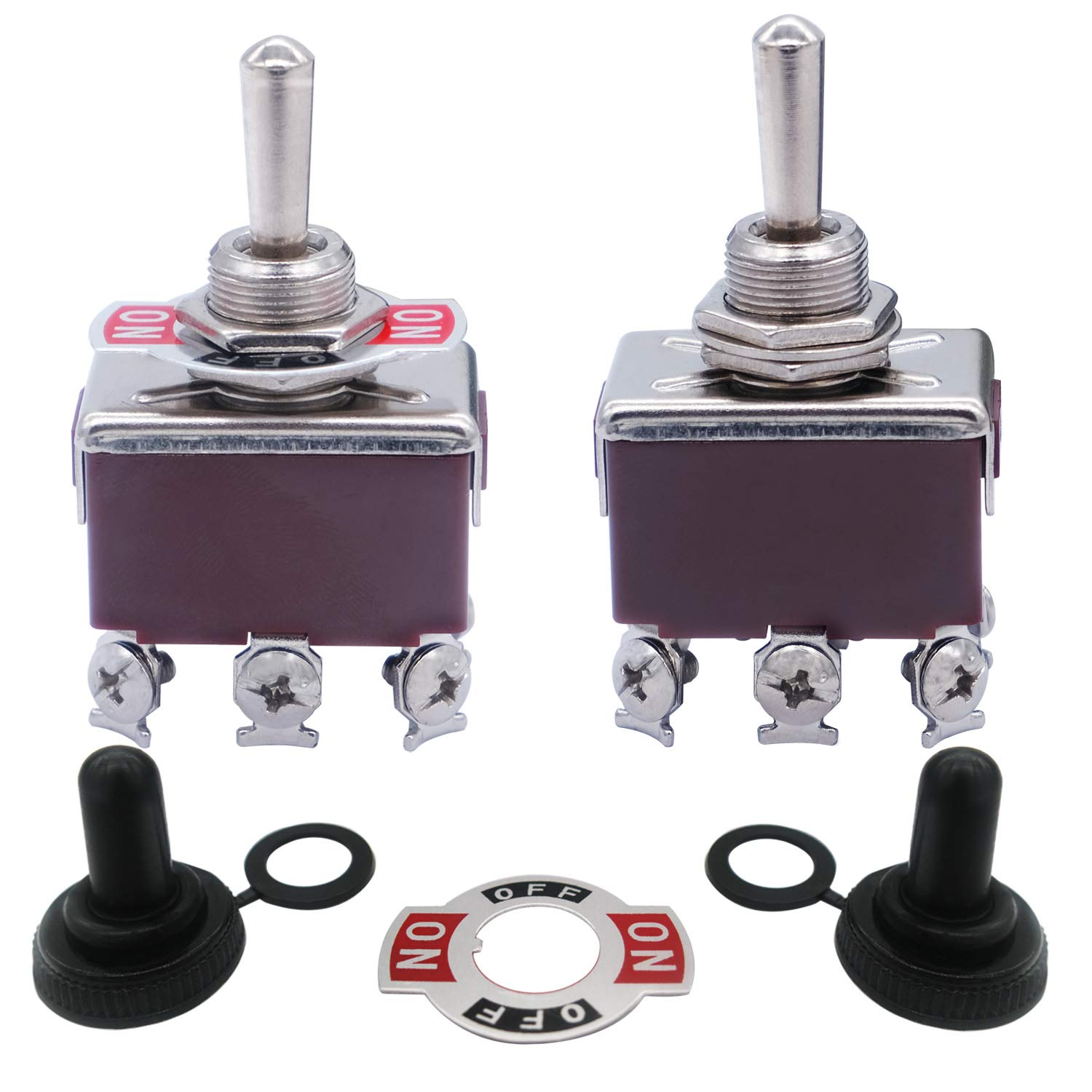 Taiss / 2pcs Momentary Switch Toggle Rocker Heavy Duty 20A 125V DPDT 3 Position 6 Terminal (ON)-Off-(ON) Toggle Switches + 2pcs Waterproof Cap ( 2 Years Warranty) ten-223
