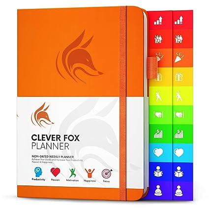 Planificador Clever Fox - Agenda Semanal Mensual Diario Para Disparar la Productividad, Motivación, Felicidad, Éxito y Lograr tus Metas en 2019 - ...