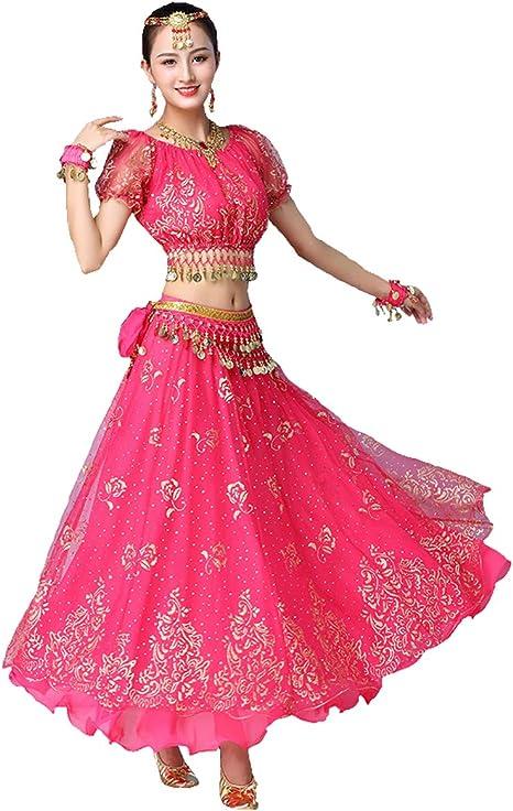 Grouptap Bollywood Rosa Indio para Mujer señoras Elegante Anarkali ...
