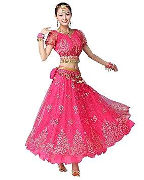 Grouptap Bollywood Rosa Indio para Mujer señoras Elegante ...