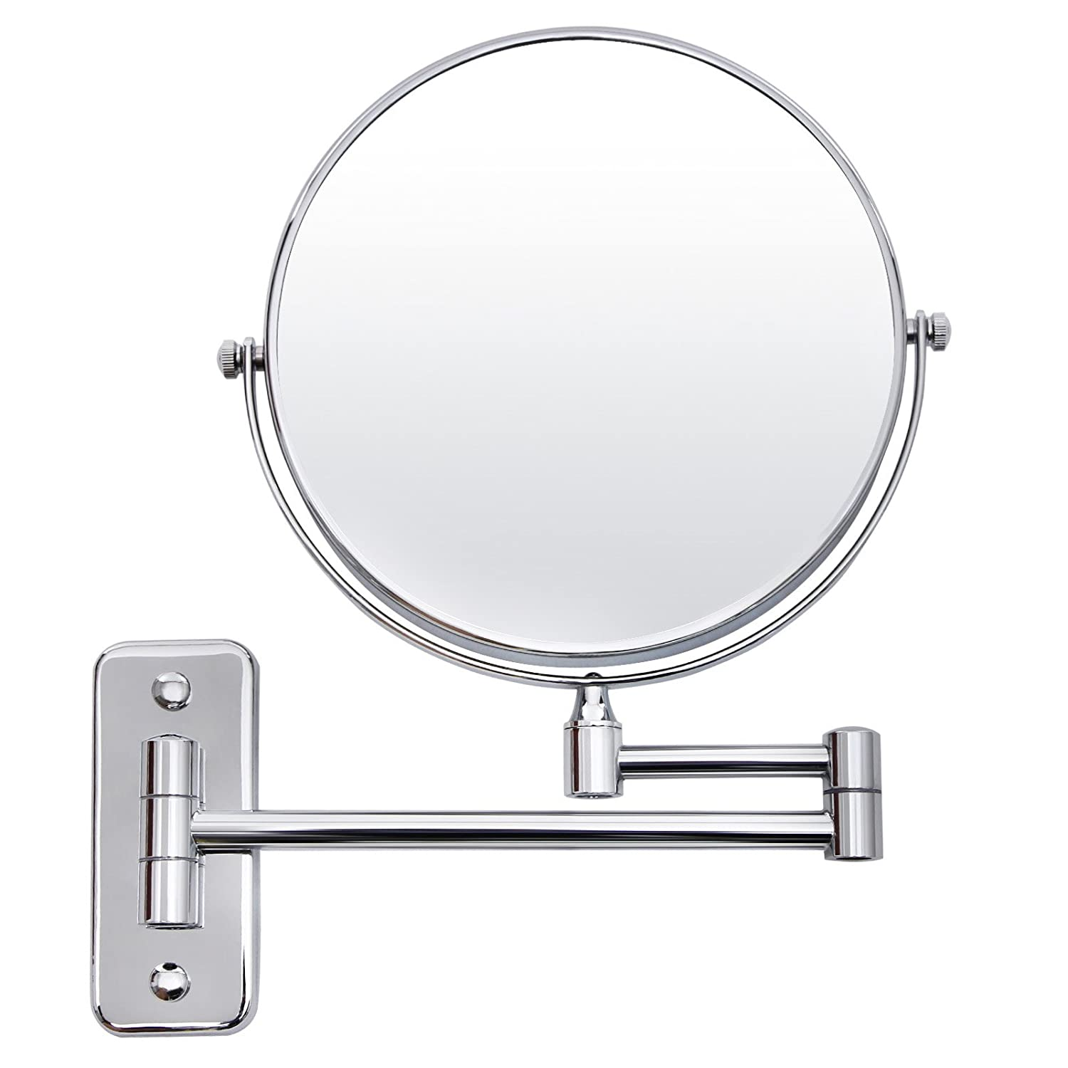SONGMICS 5x Magnifying Wall Mount Makeup Mirror 8 Inch Two-Sided Swivel Extendable Bathroom Mirror Chrome UBBM513