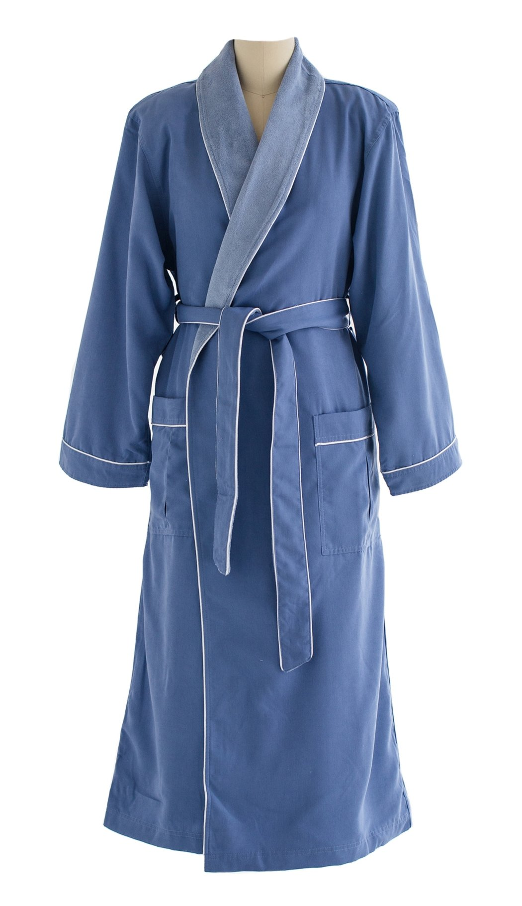 Ultimate Doeskin Microfiber Bathrobe Lined In Terry - Luxury Spa Bathrobe for Women and Men - Periwinkle/Periwinkle - Medium