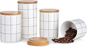 Kitchen Canisters Set, BEYONDA 4 Piece Ceramic Food Storage Canister Ceramic Jar with Airtight Bamboo Lid, Heat & Cold Resistant Portable Canister for Ground Coffee, Tea, Sugar, Spices