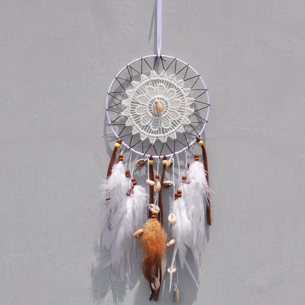 Parlie Handmade Large Dream Catcher with White Brown Feather Seashell Knitting, Wall Hanging Home Decoration Hanging Ornament Gift Caught Dreams Unique Style (Diameter: 6'')