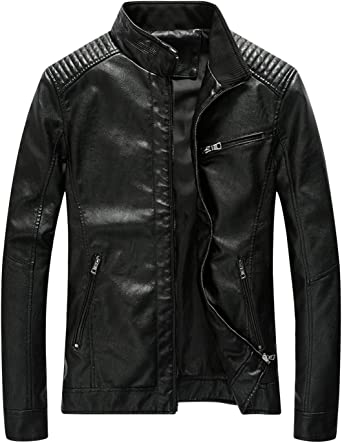Tanming Mens Zipper Up Faux Leather Jacket Outerwear