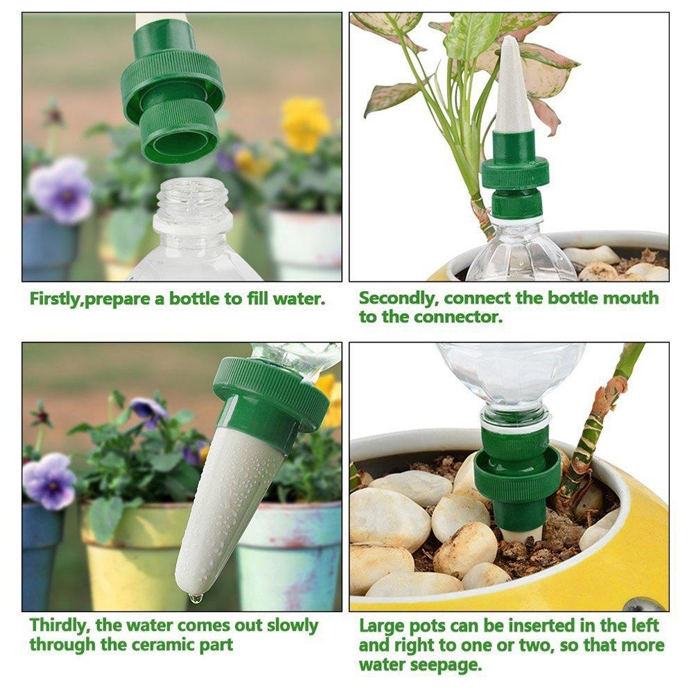 8 Pack Sistema de riego automático para interiores, dispositivo de riego por goteo, herramientas de jardinería para macetas, sondas de cerámica, auto-riego, ...