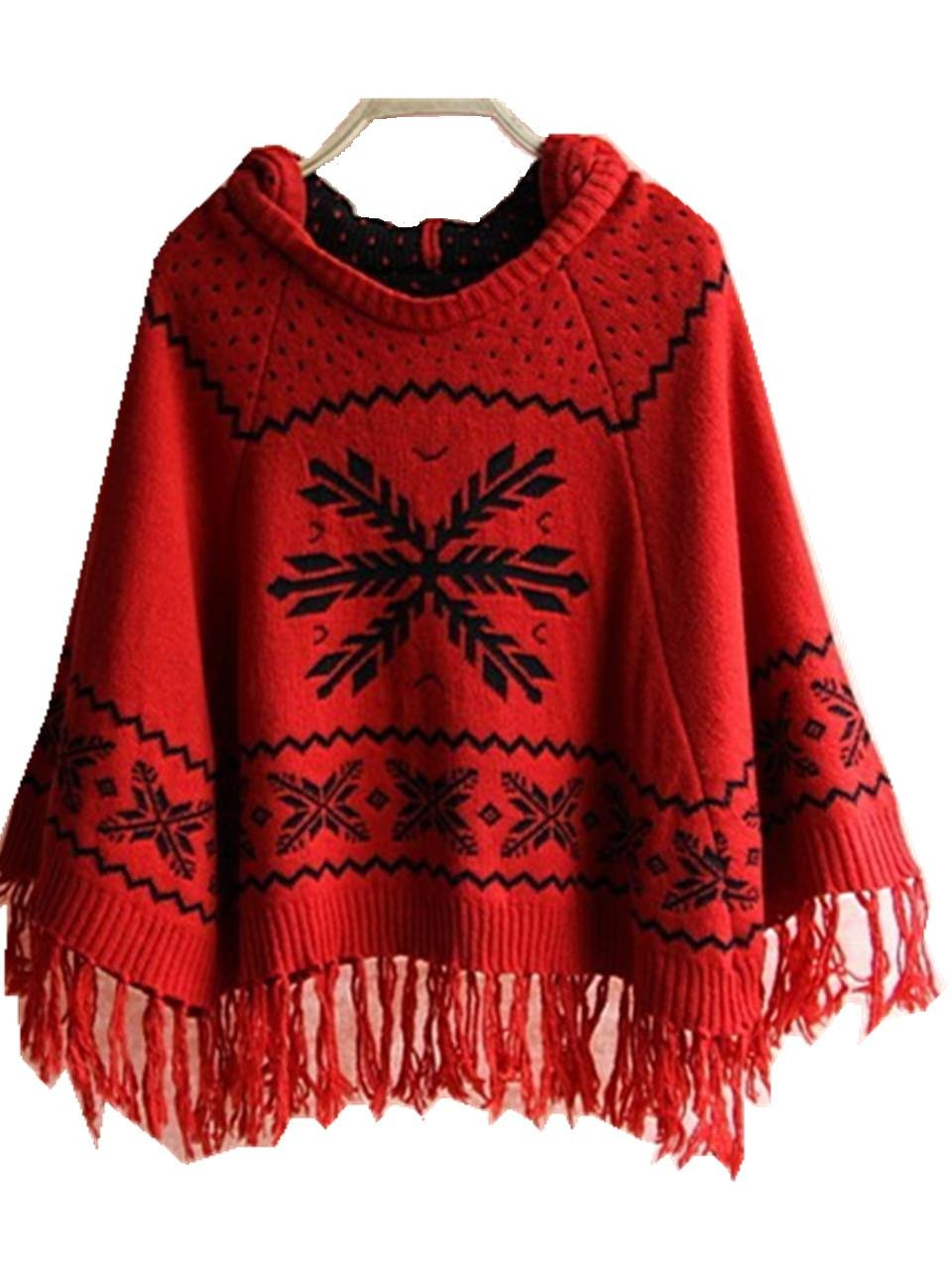 NEW Bohemia Tassel Poncho with Hoodie Knitted Shawl Batwing Sleeve Autumn and Winter Sweater Outerwear (Black) Junestar