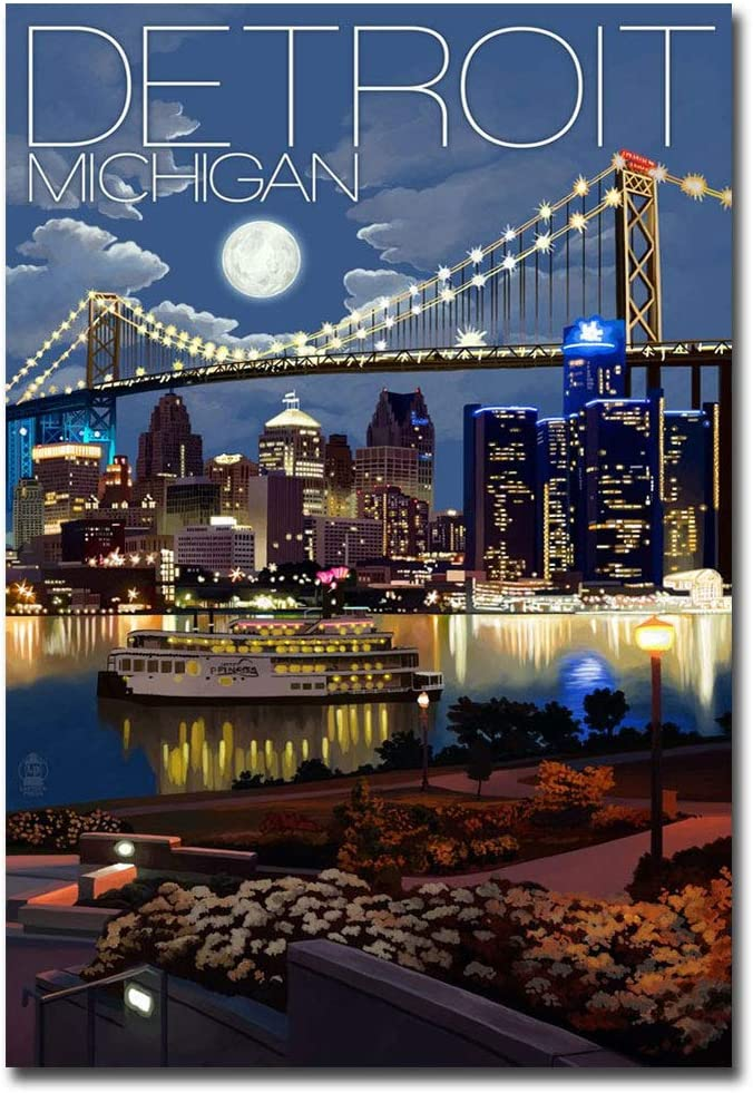 "Detroit Michigan at Night Travel Art Refrigerator Magnet Size 2.5"" x 3.5"""