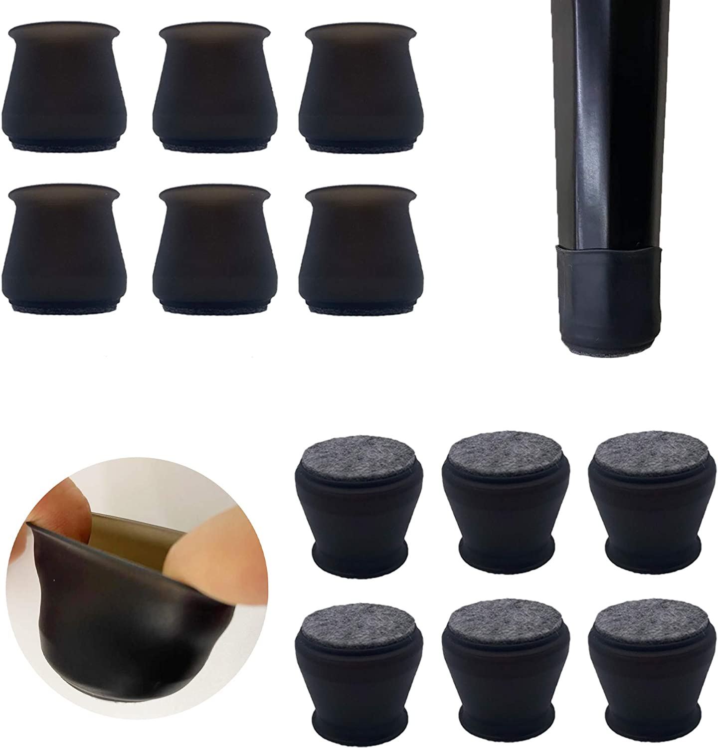 Upgraded 24 PCS Chair Leg Caps with Felt Bottom Round&Square Silicone Chair Leg Covers for Mute Furniture Moving Elastic Furniture Silicone Protection Cover to Prevent Scratches. (Black)