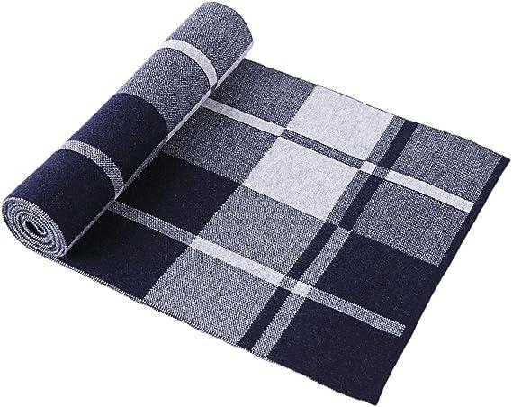 RIONA Bufanda cálida a cuadros de punto 100% de lana merino suave ...
