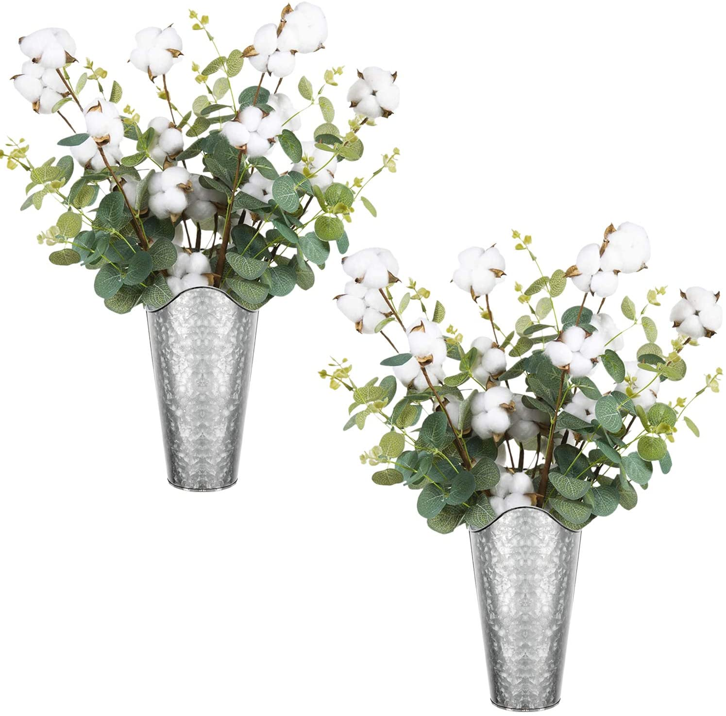LIBWYS Galvanized Wall Planter 2 Sets and 8 Cottons Stems with Eucalyptus Metal Hanging Vase for Farmhouse Rustic Style Country Home Wall Decor