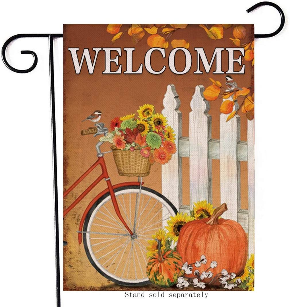 Artofy Welcome Fall Decorative Small Garden Flag, House Yard Outside Pumpkin Sunflower Bike Decor, Autumn Home Decorations Seasonal Thanksgiving Outdoor Flag Vertical Double Sided 12 x 18