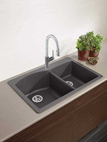 BLANCO, Cinder 441465 DIAMOND SILGRANIT 60 40 Double Bowl Drop-In or Undermount Kitchen Sink, 33 X 22