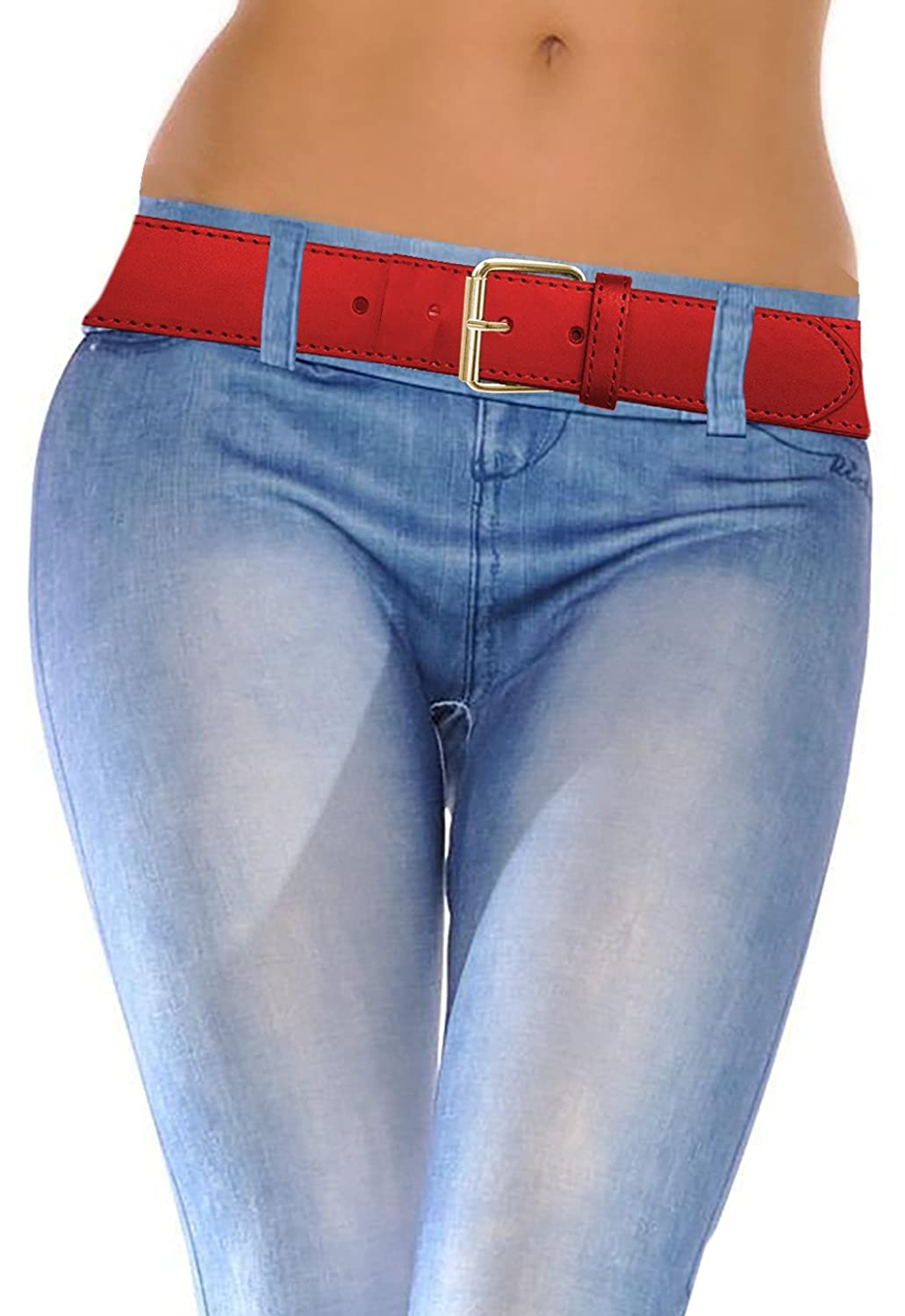 LUNA Top Quality Snap-On STITCH Gold Buckle Thick Wide Leather Belt - Red - Small