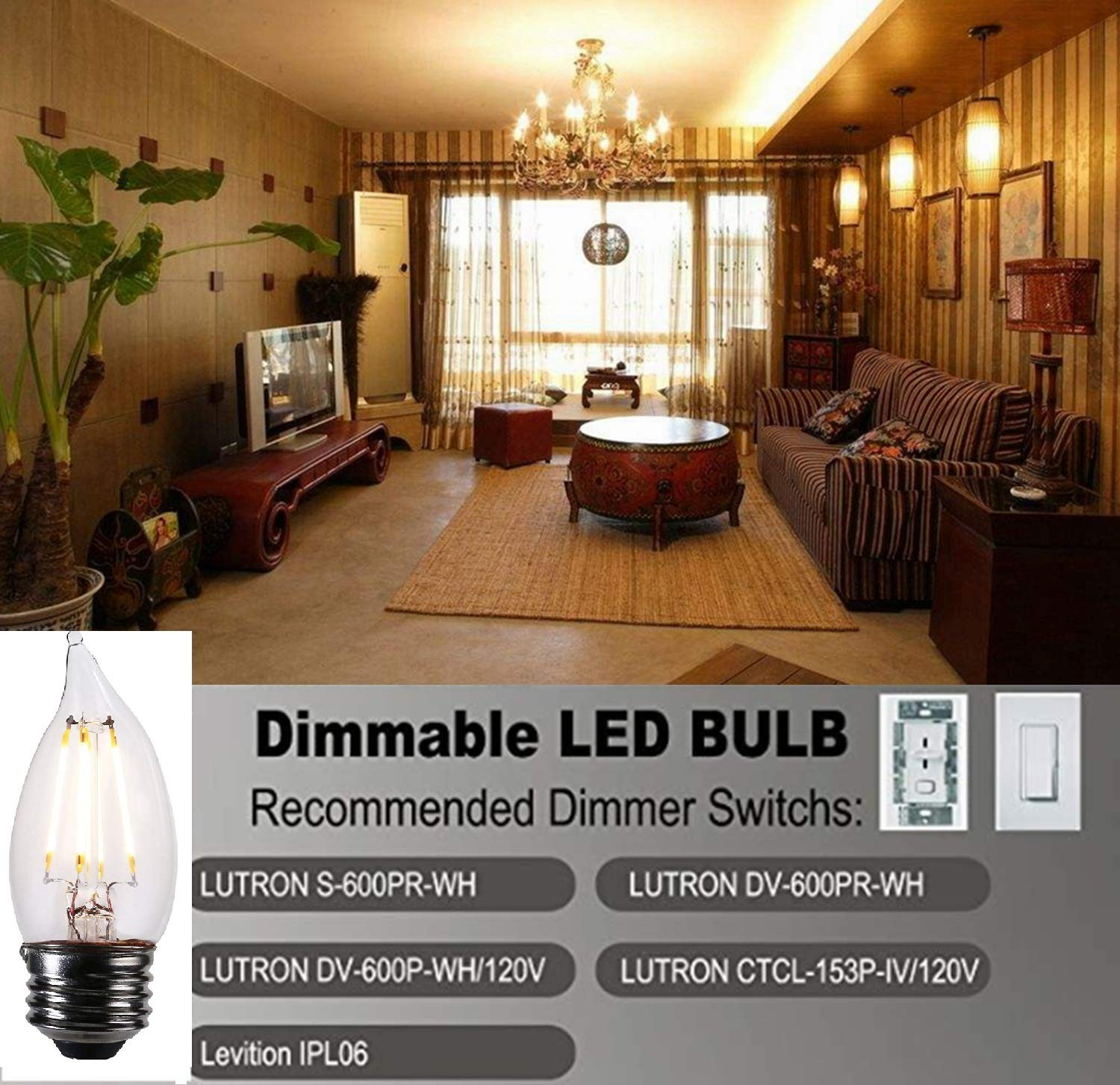 LED Candelabra Light Bulbs Flame tip UL Listed - Dimmable - 450 Lumen - 2700K- 4.5 Watt - E26 Bulb Base - Vintage Filament Indoor Outdoor Led Candelabra Bulb (Warm White, 2Pack)