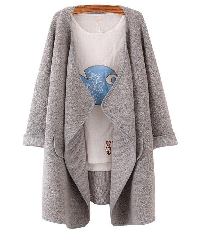 damen cardigan mantel kaschmir pullover strickjacke lang blusen oberteile outwear strickmantel. Black Bedroom Furniture Sets. Home Design Ideas