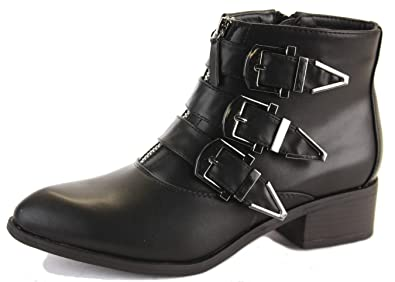 c754b747e52b4 shoeFashionista - Ladies New Retro Shoes Low Heel Ankle Boots Booties with  Buckles / Zip Size