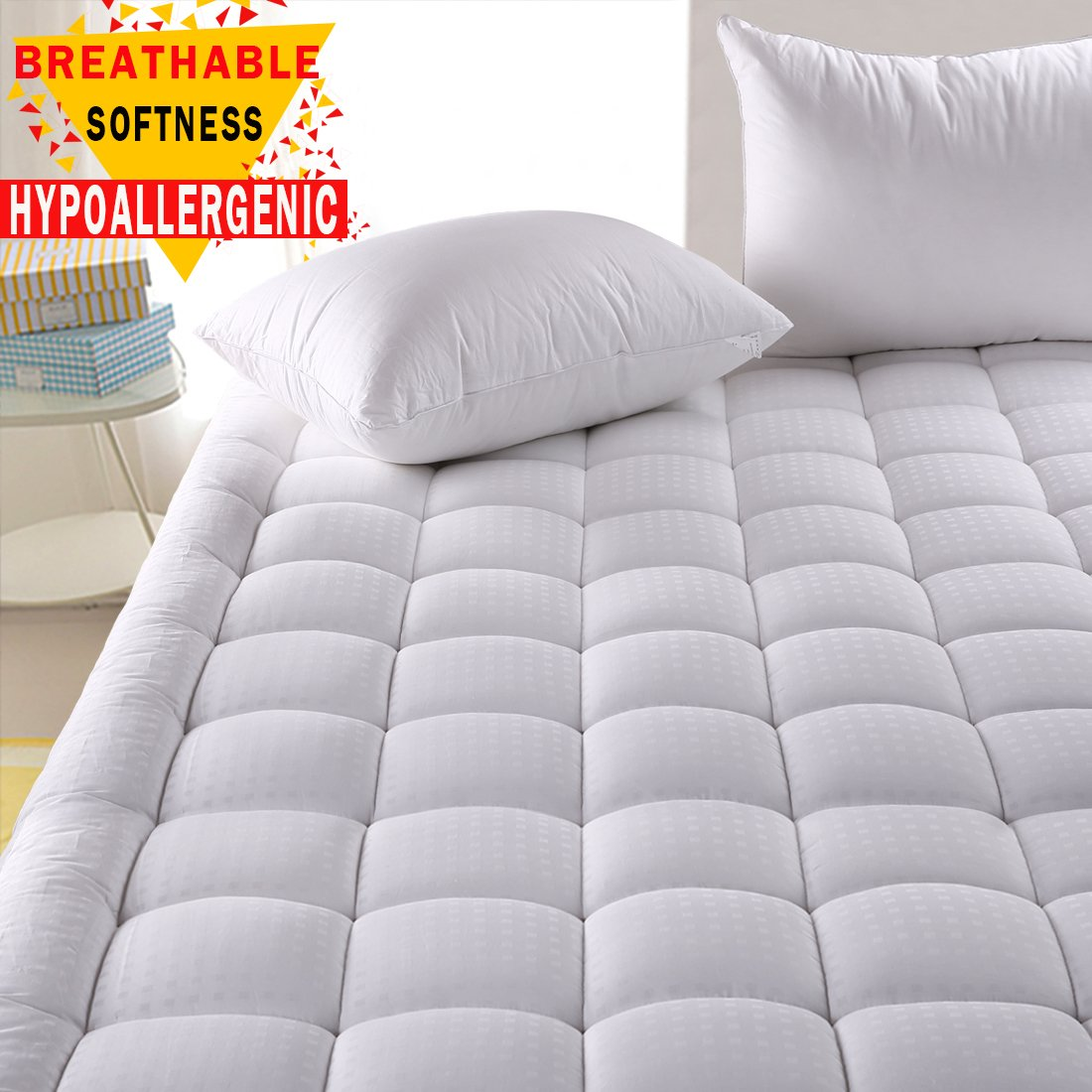 Hypoallergenic Quilted Mattress Pad Cover with 300TC 100% Cotton Down Alternative Filled Mattress Topper