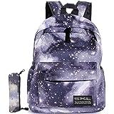 Galaxy School Backpack, SKL School Bag Student Stylish Unisex Canvas Laptop Book Bag