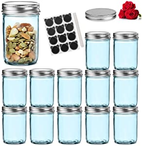 LovoIn 12-Pack 8 oz Regular Mouth Glass Jars with Silver Metal Airtight Lids, Fashioned Mason Jars for Baby Foods, Jams, Jellies, Fruit Syrups, Body Milk, Pizza Sauce - Blue