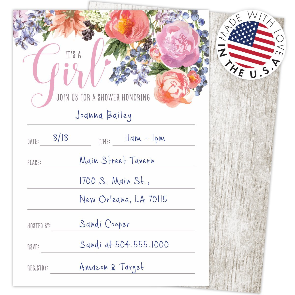 """Printed on Heavy Card Stock Koko Paper Co It/'s a Girl Baby Shower Invitations Set of 25 Fill-In Style 4.25/"""" x 6/"""" Cards and A6 Envelopes"""