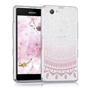 kwmobile Funda compatible con Sony Xperia Z1 Compact - Carcasa de TPU y diseño de sol hindú en rosa claro / blanco / transparente