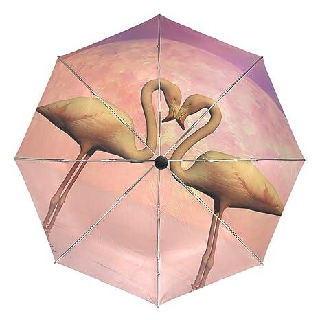 COOSUN Flamencos Amor automático 3 plegable Sombrilla de Protección Solar anti-UV Paraguas de la