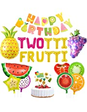Twotti Fruity Birthday Decorations Party Supplies Twotti Frutti Balloons Cupcake Topper Grape Pineapple Watermelon Balloons for 2nd Birthday Baby Shower
