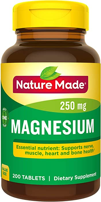 Nature Made Magnesium Oxide 250 mg Tablets, 200 Count Value Size (Packaging May Vary)