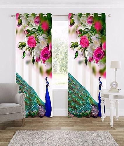 Buy Homecrust Fabric 3d Peacock Elegant Curtain Pink 4x9ft Set
