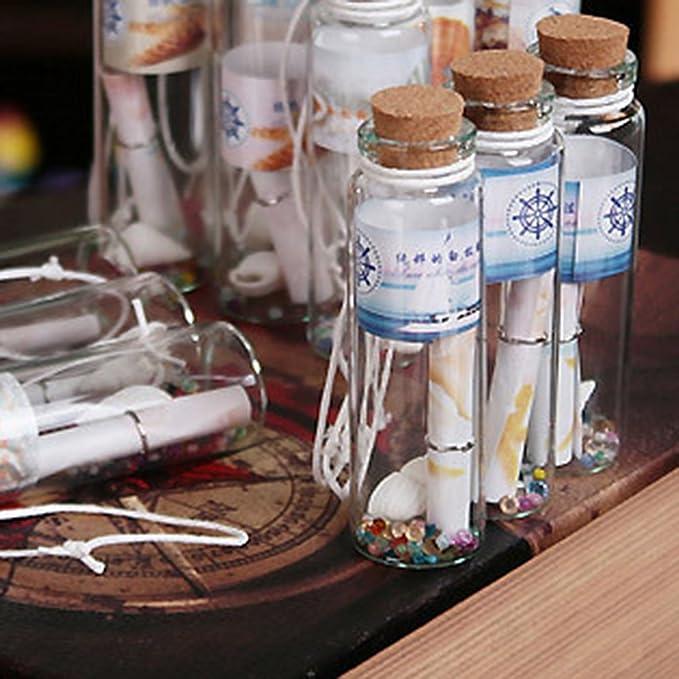 12 Piezas Mini Tapón Corcho de Botella Transparentes Colgante de Suerte Diseño Tarros de Cristal: Amazon.es: Juguetes y juegos