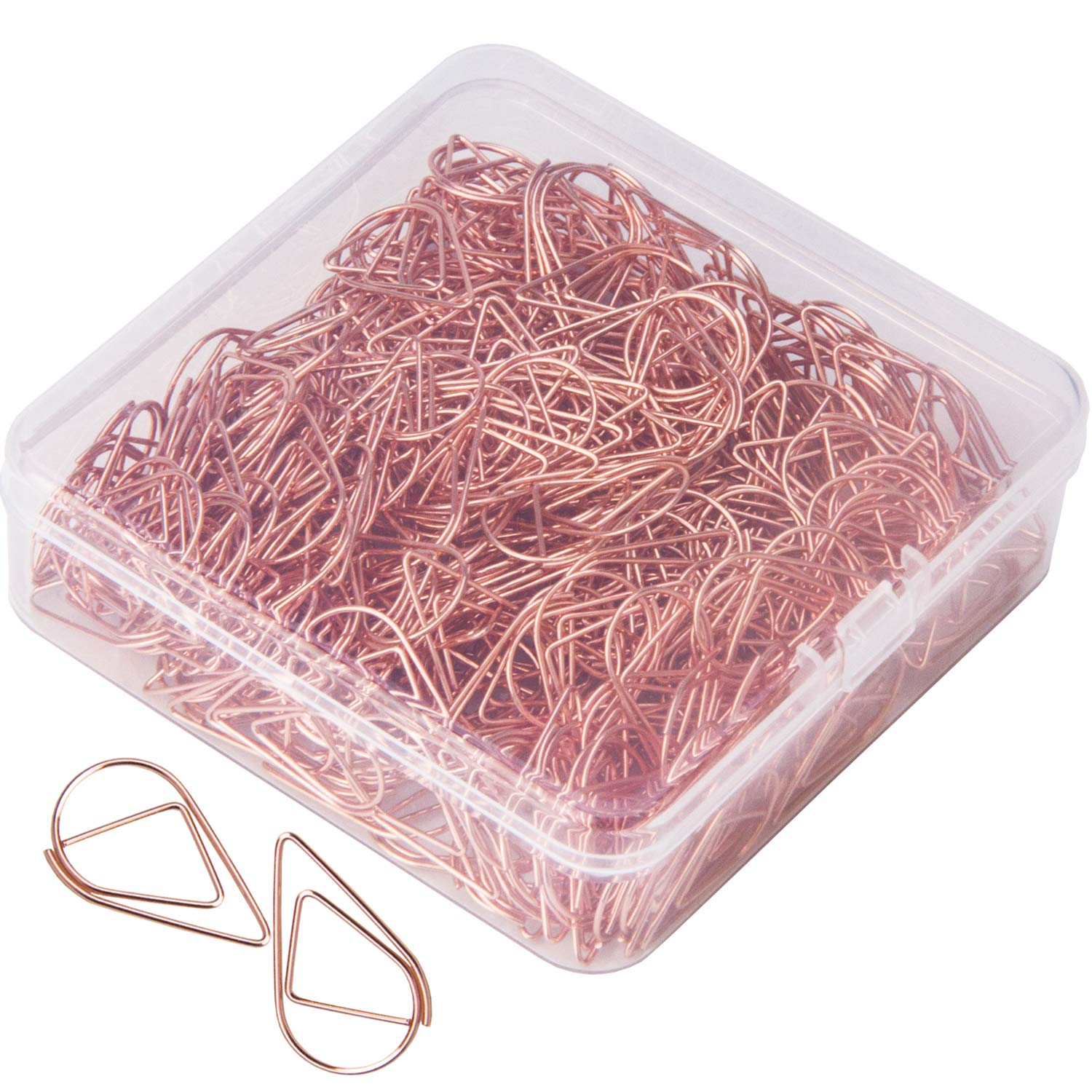 300 Premium Cute Paper Clips Rose Gold Smooth Stainless Steel Wire Small Paper Clips for Office Supplies Girls Kids School Students Paper Document Organizing with Storage Box (1 inch)