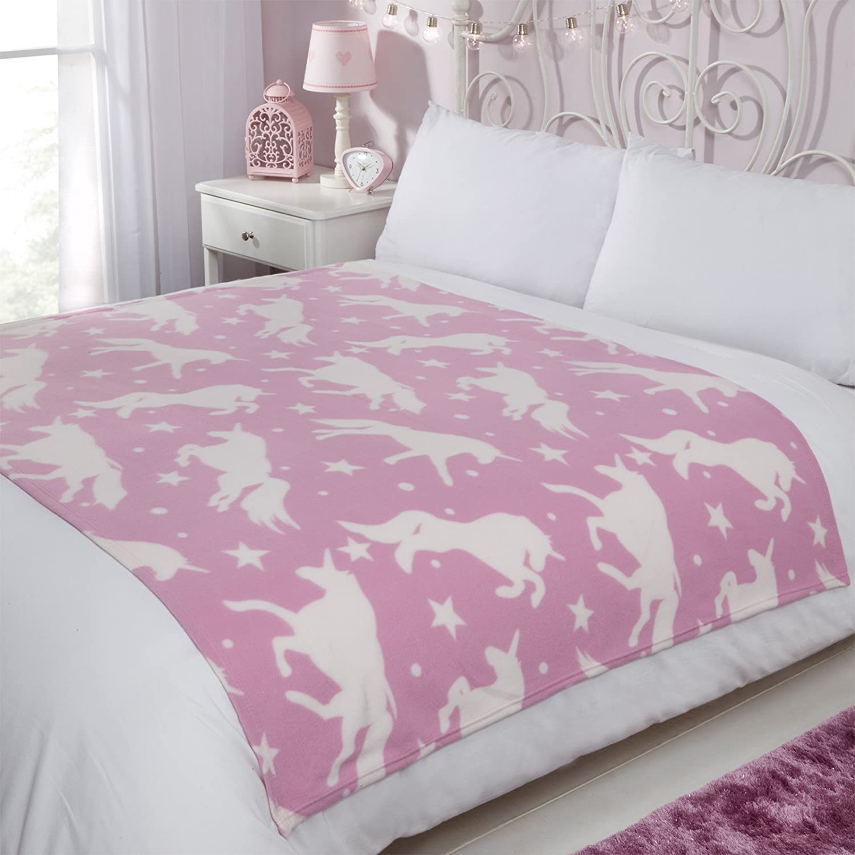 Dreamscene Fleece Blanket, Unicorn Pink - 120 x 150 cm White Stars, 120 x 150cm FUNIC110