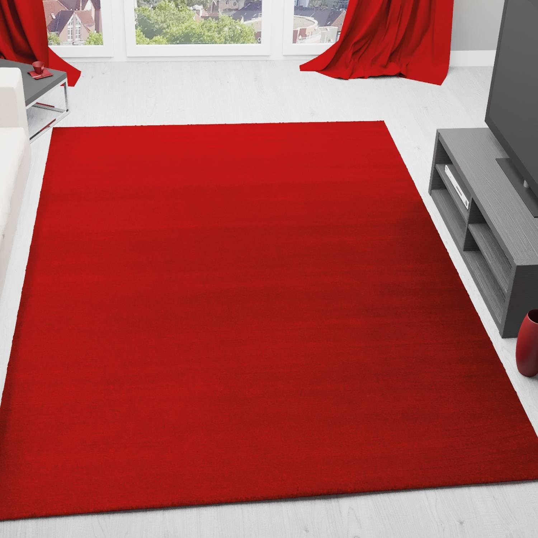 VIMODA Moderner Teppich, Uni Farbe in Rot, ÖKO TEX Zertifiziert und Pflegeleicht, Maße 200x290 cm